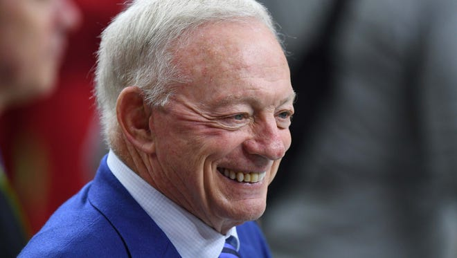 Dallas Cowboys owner Jerry Jones walks the sidelines before Super Bowl LI between the Atlanta Falcons and the New England Patriots at NRG Stadium.