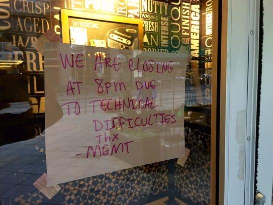 A sign in a Denver, Colorado Starbucks on April 24,