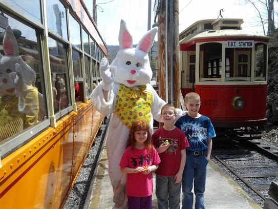 The Easter Bunny and guests at the 2014 trolley ride.
