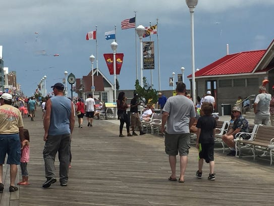 The Ocean City Boardwalk was typically packed for a