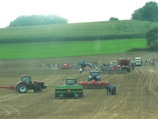 A 40-foot wide grain drill in action.