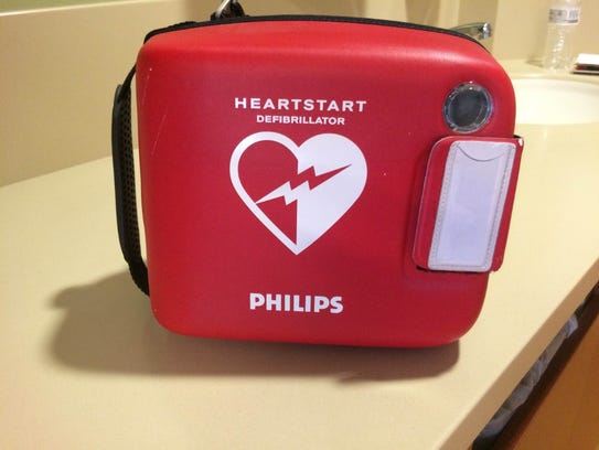 An automated external defibrillator, which Sarah Helton