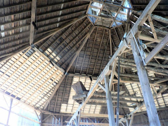 It's a long way up to the cupola. The light-colored