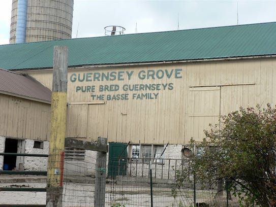 The cream-colored barn at Basse's Guernsey Grove dairy