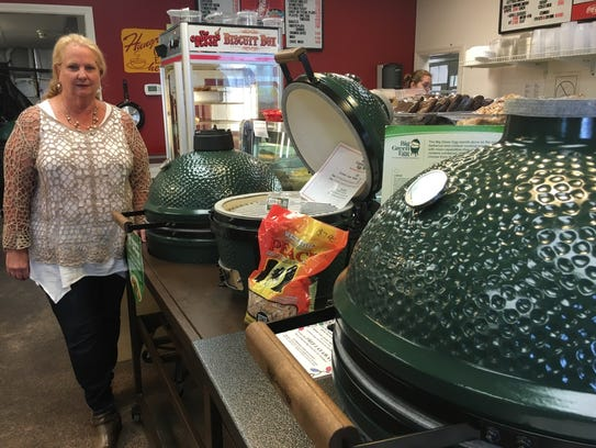 Beverly Bridges sells the popular Big Green Eggs for