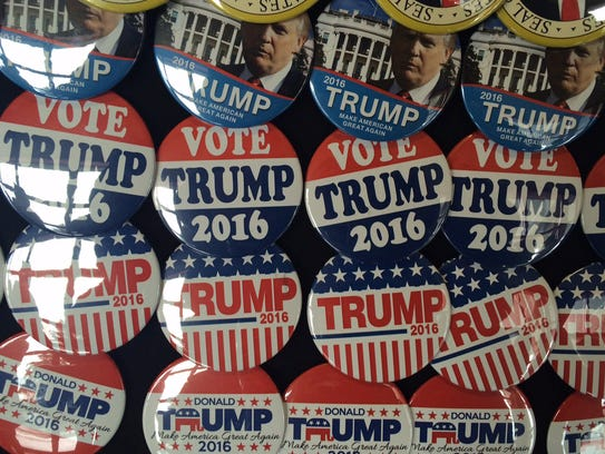 Buttons for sale at a Trump campaign stop in Wisconsin