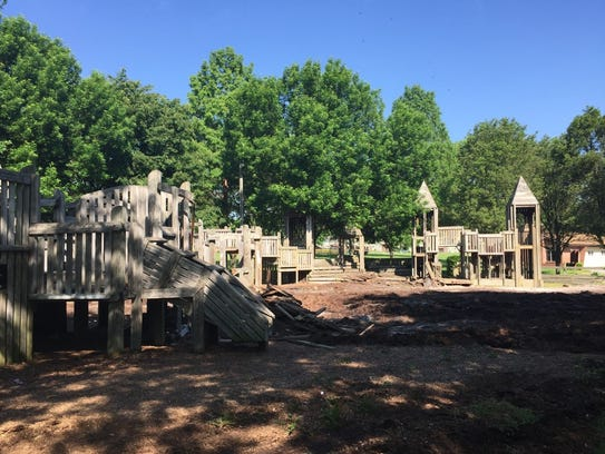 Demolition of the wooden playground at Optimist Park