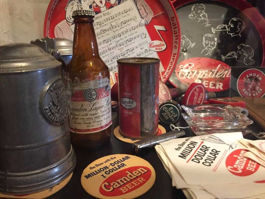 Camden Beer products fill a display case at the Camden