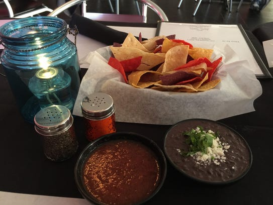 Complimentary chips, salsa and black bean dip at Casa