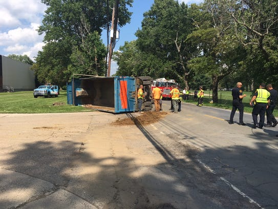 A dump truck overturned on Hampton Road on Tuesday