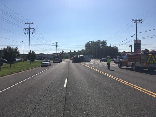A tractor trailer overturned at Trenton and Tiny Town