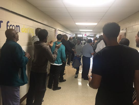 Willingboro High School students are greeted on their
