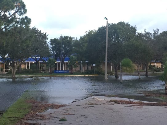 Gulf Middle School is surrounded by water after Hurricane