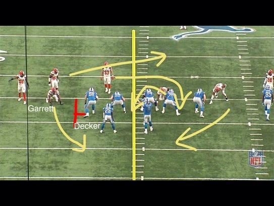 Detroit Lions left tackle Taylor Decker vs. the Cleveland Browns on Nov. 12, 2017.