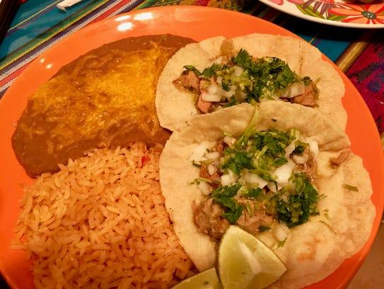 The taco plate at La Cocina de Chuy in west Redding.