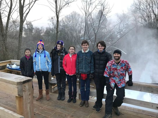 Tate's School eighth-graders worked on the snow machine