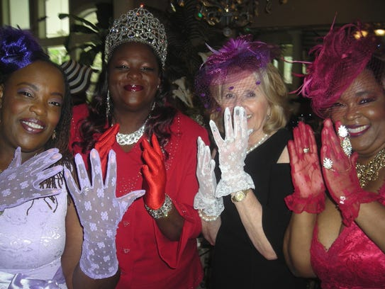 Gloved for the Harambee Royal Tea: Traci Burks, Honoree Queen Tara Sabbath,  Justinian Queen Tracey Cox, Barbara Casey.