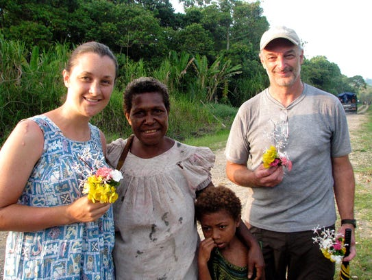 Forrest VanCott, right, on a visit to Papua New Guinea