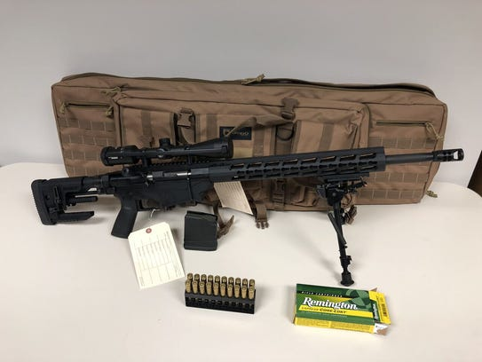 A .308 Ruger Precision caliber rifle with a bipod and scope authorities say Sun purchased.