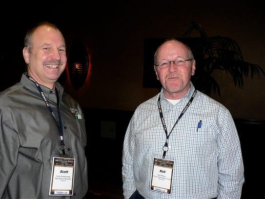 Bob Meyer (right) longtime farm radio personality in