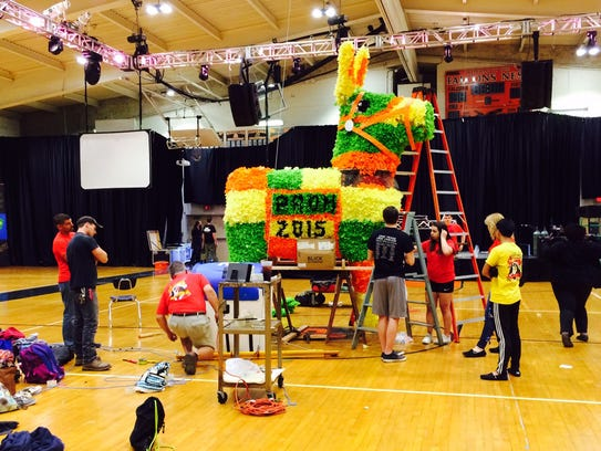 Students create giant pinata for Pennsbury High School