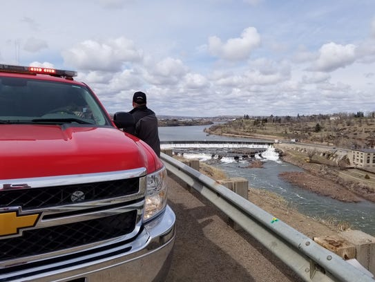 Officials are searching the Missouri River for a person