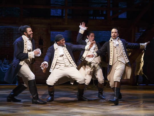 Daveed Diggs, left, Okieriete Onaodowan, Anthony Ramos and Lin-Manuel Miranda rap and sing their way through 'Hamilton.""