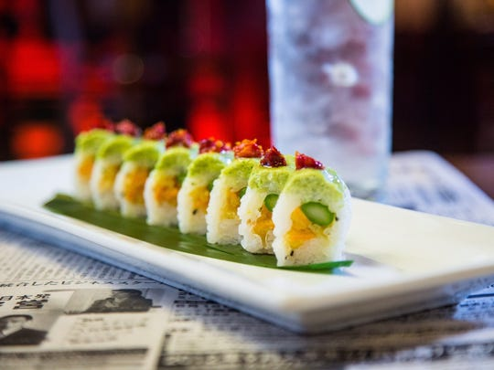 The Eden at Blue Sushi Sake Grill is a vegan rice roll with sweet potato, asparagus, edamame hummus, sun-dried tomato and olive oil. The restaurant opens at Ironworks at Keystone in fall 2017.