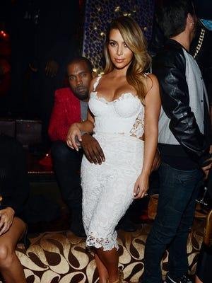 Kim Kardashian and Kanye West at Tao Las Vegas on Oct. 25, 2103.