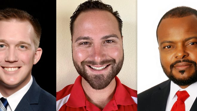 Candidates for DeBary City Council Seat 2 include, left to right, Jim Pappalardo, Ryan Rinaldo and Darius Kelley.