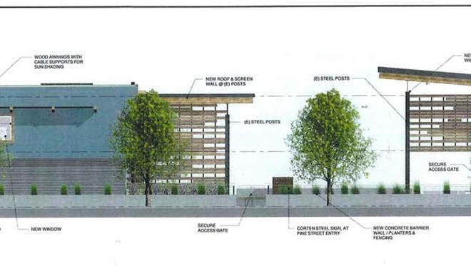 Architectural renderings of the proposed remodeling project to turn the closed Americana Lodge into The Lofts.