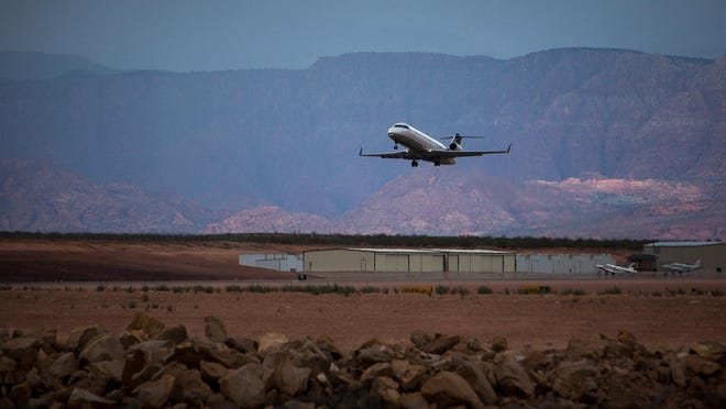 A SkyWest flight headed to Denver takes off from the newly-renamed St. George Regional Airport in this file photo from Saturday, August 31, 2013.