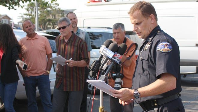 At a Friday press conference, Cannon Beach Police Chief Jason Schermerhorn.