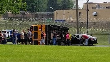 A school bus was involved in a rollover crash at the intersection of Birch Road and Metro Drive Monday, June 4, 2018. The bus rolled over in the intersection after a pickup truck towing a trailer ran through a stop sign and struck the bus. The bus was carrying one student who was transported to WellSpan Good Samaritan Hospital for a minor injury, according to police.