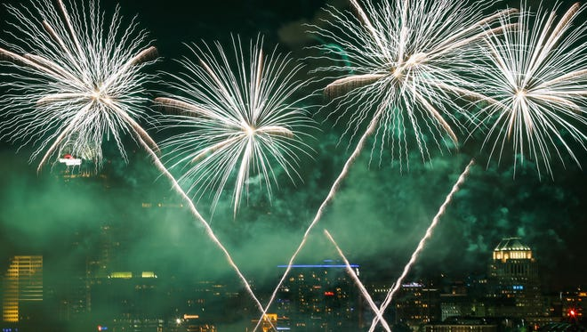 Rozzi's Famous Fireworks glitter over the Cincinnati skyline during the 2015 Western & Southern / WEBN Firework show