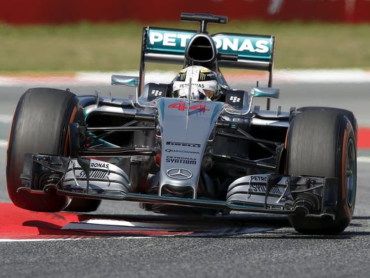 Mercedes F1 driver Lewis Hamilton of Britain drives his car during the first free practice ahead of the Spanish Grand Prix at the Circuit de Barcelona-Catalunya racetrack