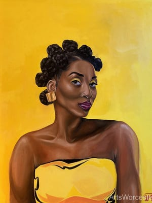 "Dana Mendes', ""No, You Can't Touch My Hair; Bantu Knots,"" oil on canvas, is part of ArtsWorcester's eighth annual ""One: A Members' Exhibition,"" on view through November."