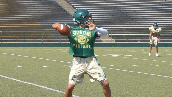 Red Bluff's Marshal Brose practices with the team on Wednesday.