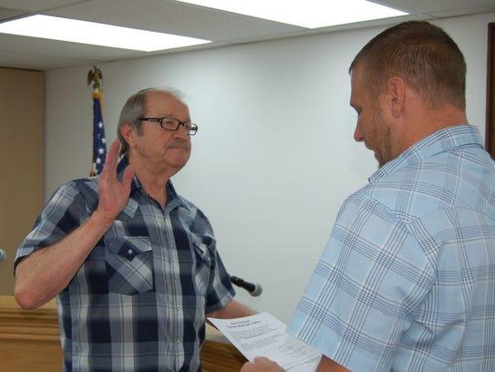 Norfork alderman Phillip Stultz is sworn in Tuesday