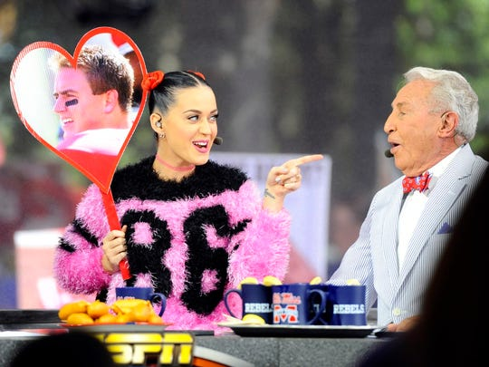 Performing artist Katy Perry and Lee Corso of ESPN College Gameday prior to the Mississippi Rebels game against the Alabama Crimson Tide at Vaught-Hemingway Stadium. Mandatory Credit: Christopher Hanewinckel-USA TODAY Sports ORG XMIT: USATSI-181958 ORIG FILE ID:  20141004_kkt_ah2_074.jpg