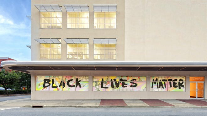 The SCAD Savannah BLM mural can be viewed at the Gutstein Gallery, on the corner of the Jen Library at 201 E. Broughton St.