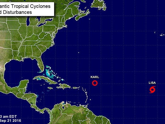 Karl is now a tropical depression and Tropical Storm