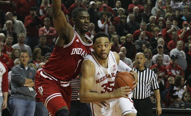 Jan 30, 2014; Lincoln, NE, USA; Nebraska Cornhuskers  forward Walter Pitchford (35) dribbles the ball around Indiana Hoosiers forward Noah Vonleh (1) in the first half at Pinnacle Bank Arena. Mandatory Credit: Bruce Thorson-USA TODAY Sports