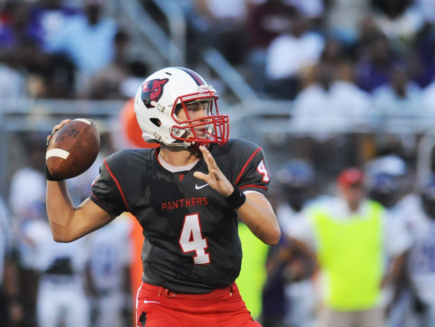 Petal's Samuel Hopper (4) prepares to throw the ball Saturday at the opening game of the season against Hattiesburg High.