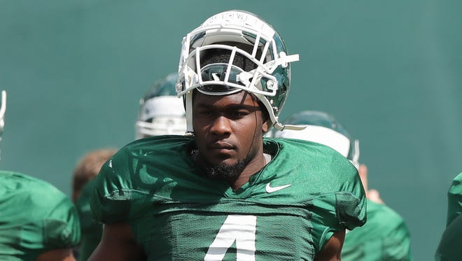 Michigan State defensive lineman Malik McDowell during practice at the Duffy Daugherty football facility in East Lansing MI. Monday, August 22, 2016.