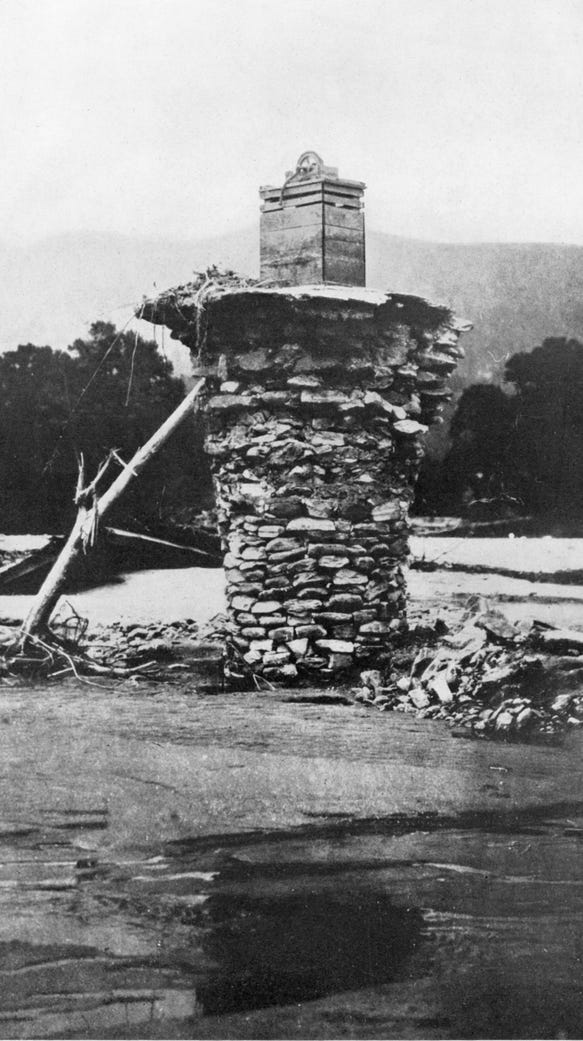 This stacked stone wall of a well near Chimney Rock