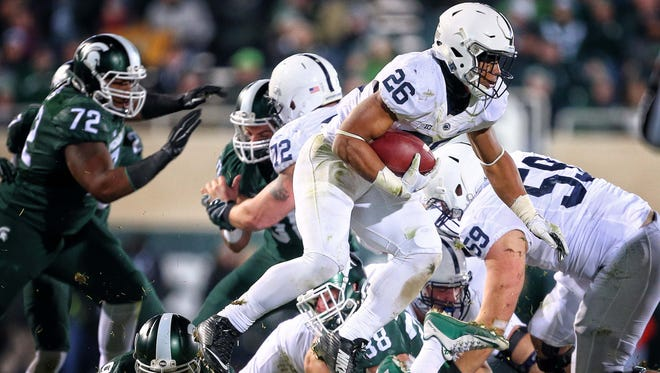 Penn State running back Saquon Barkley rushed for 1,076 yards as a freshman last season, including more than 100 at Michigan State in late November.