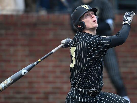 Vanderbilt's Pat DeMarco (18) looks to the sky after hitting the ball against Duke.