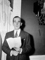 Broadcast news commentator Edward R. Murrow is shown in 1954.