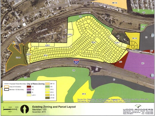 A display map of the proposed Meridian 120 North housing development in Verdi.